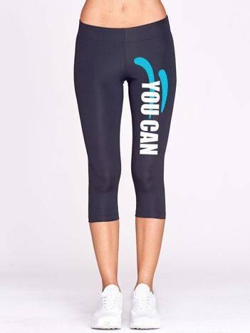Krótkie legginsy do biegania ze sportowym tekstem grafitowe