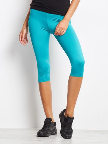 Krótkie lekko ocieplane legginsy fitness ciemnozielone