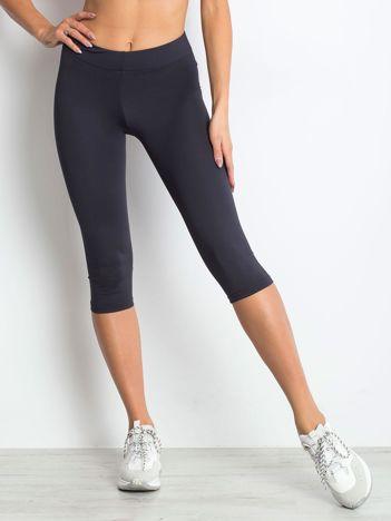 Krótkie lekko ocieplane legginsy sportowe jasnogranatowe