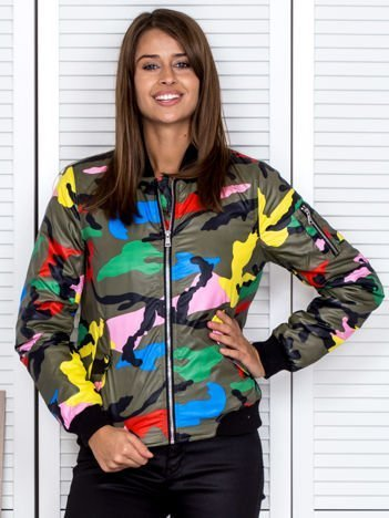 Kurtka damska bomberka w kolorowy wzór moro