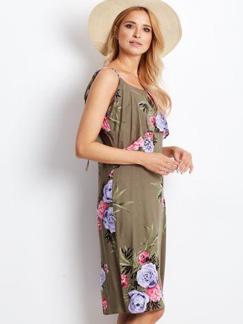 Kwiatowa sukienka khaki z falbaną