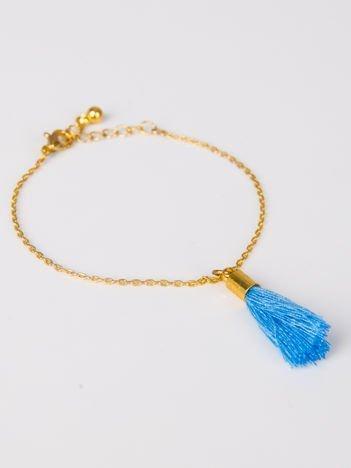 LOLITA Bransoletka damska złota z ozdobnym błękitnym chwostem