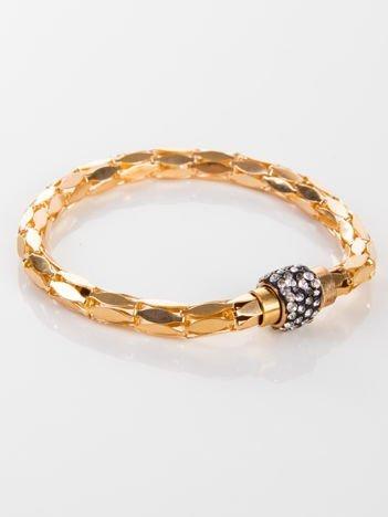 LOLITA Bransoletka wężowa złota z cyrkoniami, magnetyczna