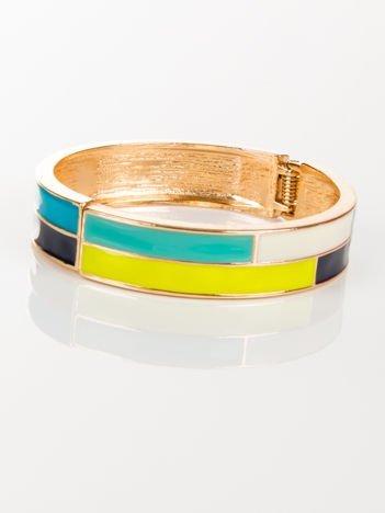 LOLITA Bransoletka złota otwierana z kolorowym motywem