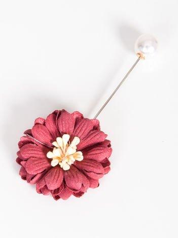 LOLITA Broszka jasnobordowa z perłową zatyczką