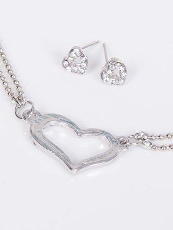 LOLITA Komplet srebrny naszyjnik + kolczyki serduszka z cyrkoniami