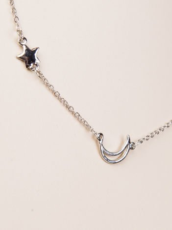 LOLITA Srebrny naszyjnik z celebrytkami delikatny księżyc + gwiazdka