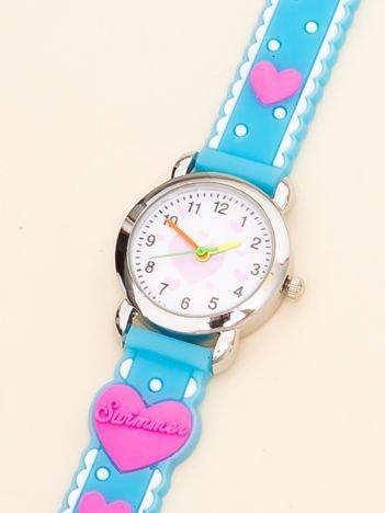 LOVE Dziecięcy Niebieski Zegarek Serduszka