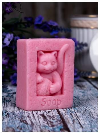 LaQ Mydełko Kot z kłębkiem wełny - różowy / Zapach - truskawka BEZ SLS i SLES