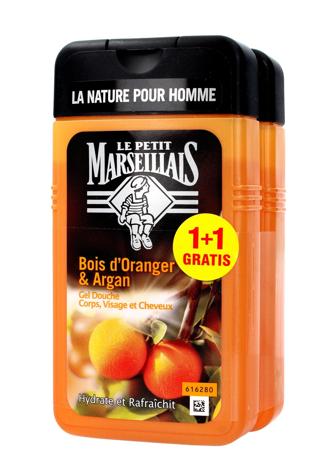 Le Petit Marseillais Żel pod prysznic 3w1 dla mężczyzn Drzewo Pomarańczowe & Olejek Arganowy 250 ml x 2 (1 plus 1 gratis)