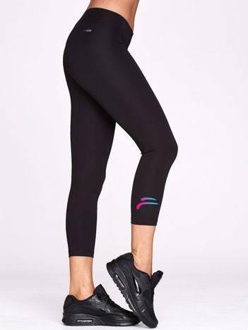 Legginsy do biegania ze sportowym symbolem czarne