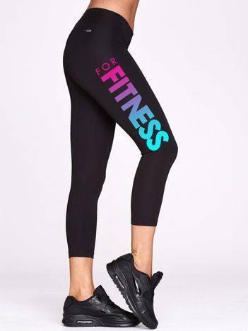 Legginsy na fitness z ombre nadrukiem czarne