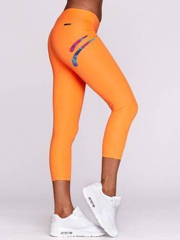 Legginsy na siłownię z kolorowym logo fluopomarańczowe