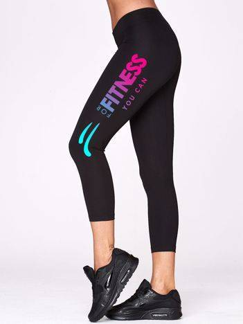 Legginsy na siłownię z printem na nogawce czarne
