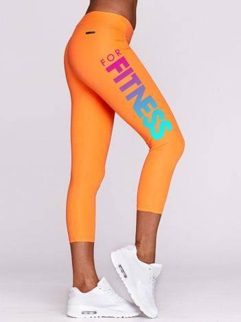 Legginsy sportowe z kolorowym nadrukiem FITNESS fluo pomarańczowe