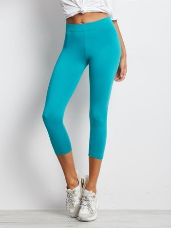 Lekko ocieplane legginsy fitness o długości 3/4 ciemnozielone