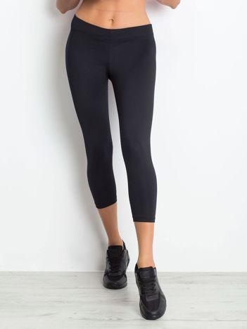 Lekko ocieplane legginsy na siłownię o długości 3/4 ciemnogranatowe