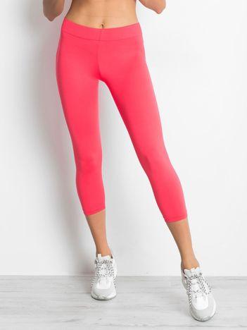 Lekko ocieplane legginsy na siłownię o długości 3/4 ciemnokoralowe