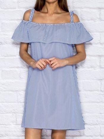 Letnia sukienka w paski z szeroką falbaną ciemnoniebieska