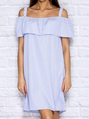 Letnia sukienka w paski z szeroką falbaną niebieska