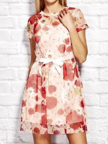 Letnia warstwowa sukienka w kwiaty różowa
