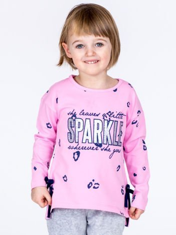 Liliowa bawełniana bluzka dziewczęca z nadrukiem i kokardkami