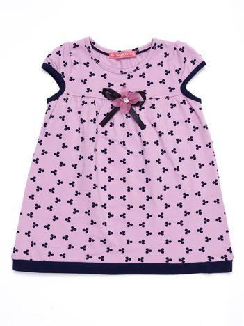 Liliowa sukienka dziecięca z nadrukiem all over