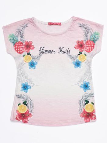 Liliowy ombre t-shirt dziewczęcy z tropikalnym nadrukiem