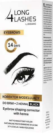 Long 4 Lashes Eyebrows Korektor modelujący do brwi z henną czarny 10 ml