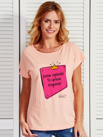 Łososiowy t-shirt damski JESTEM ZAJEBISTA! by Markus P