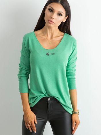 Luźna bluzka z długim rękawem zielona