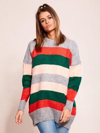 Luźny sweter w pasy szary