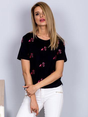 Luźny t-shirt we flamingi czarny