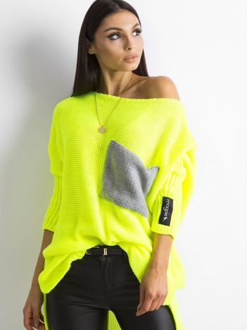 MAGPIE Fluo żółty luźny sweter z kieszenią