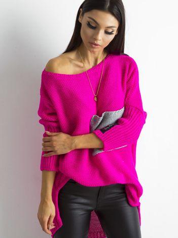 MAGPIE Różowy luźny sweter z kieszenią
