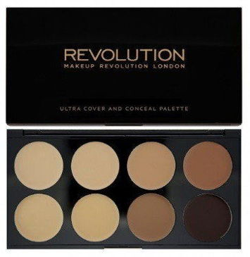 MAKEUP REVOLUTION Paleta 8 kremowych korektorów Medium/Dark Ultra Cover & Conceal Palette 10g