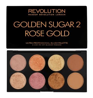 MAKEUP REVOLUTION Paleta 8 róży, bronzerów i rozświetlaczy Golden Sugar 2 Rose Gold 13g