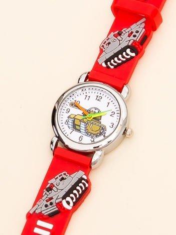 MILITARY Czerwony Dziecięcy Zegarek Czołgi
