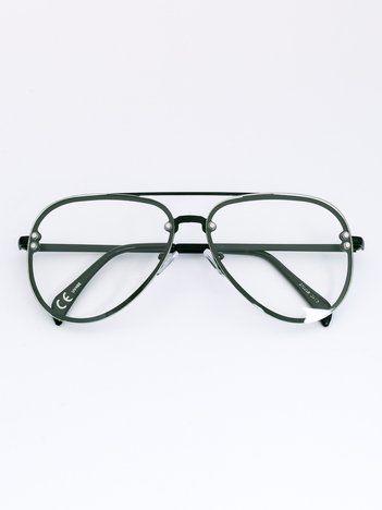 MODERN Czarne okulary zerówki pilotki typu aviator