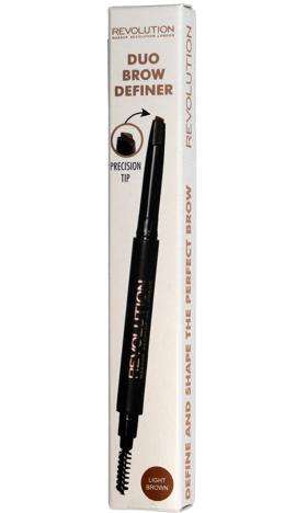 Makeup Revolution Duo Brow Definer Kredka do brwi + szczoteczka Light Brown