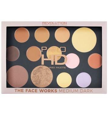 Makeup Revolution Pro HD Palette The Face Works Paleta do makijażu twarzy medium/dark 27 g