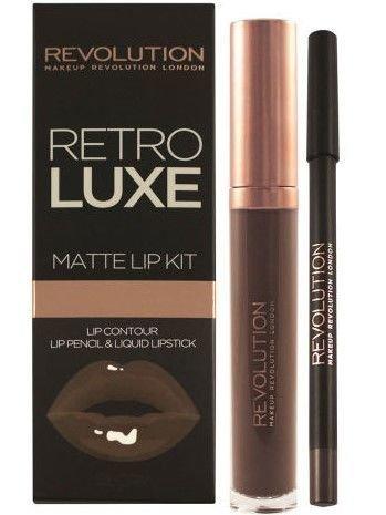 Makeup Revolution Retro Luxe Gloss Lip Kit Zestaw do ust konturówka 1g + matowa pomadka w płynie 5,5ml Glory