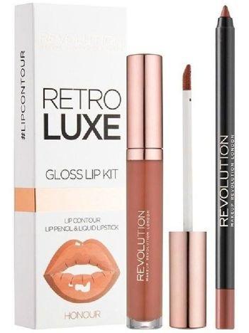 Makeup Revolution Retro Luxe Gloss Lip Kit Zestaw do ust konturówka 1g + pomadka w płynie 5,5ml Honour