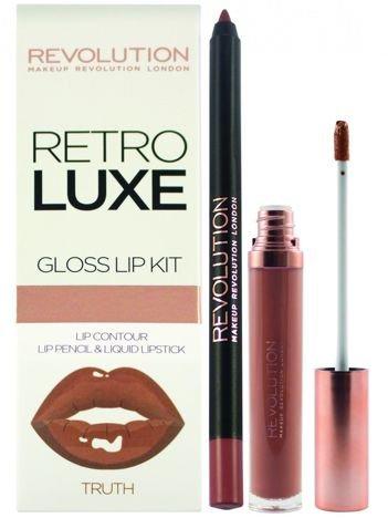Makeup Revolution Retro Luxe Gloss Lip Kit Zestaw do ust konturówka 1g + pomadka w płynie 5,5ml Truth