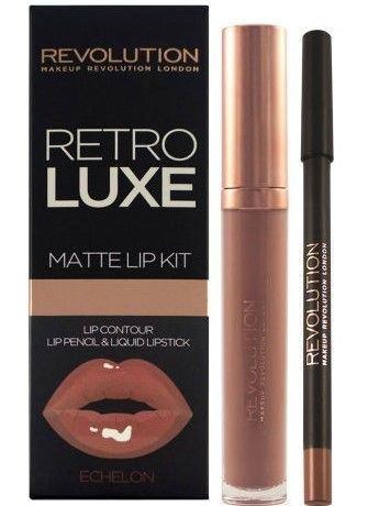 Makeup Revolution Retro Luxe Matte Lip Kit Zestaw do ust konturówka 1g + matowa pomadka w płynie 5,5ml Echelon