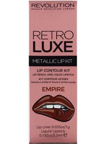 Makeup Revolution Retro Luxe Metallic Lip Kit Zestaw do ust konturówka 1g + pomadka w płynie 5,5ml Empire