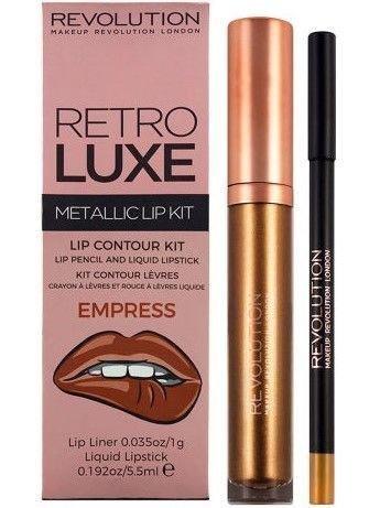 Makeup Revolution Retro Luxe Metallic Lip Kit Zestaw do ust konturówka 1g + pomadka w płynie 5,5ml Empress