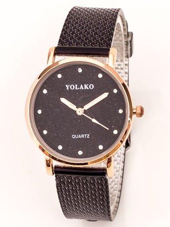 Mały Czarny Zegarek Damski Z Tarczą GLITTER