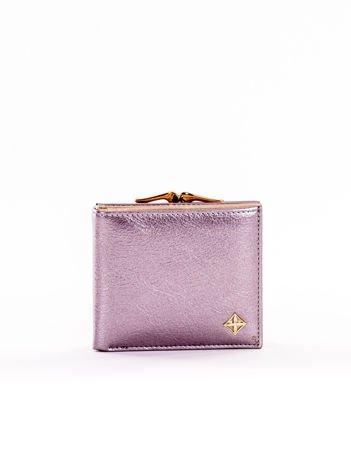 Mały elegancki portfel srebrny z ozdobnym biglem