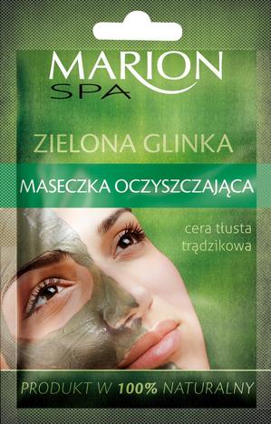 Marion Spa Maseczka na twarz z zieloną glinką oczyszczająca do cery tłustej i trądzikowej 8g
